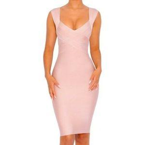 Pink Bandage Midi Dress